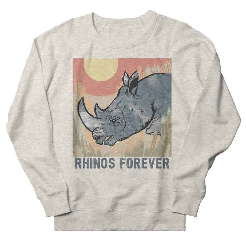 Rhinos Forever Women's French Terry Sweatshirt by feralpony's Artist Shop