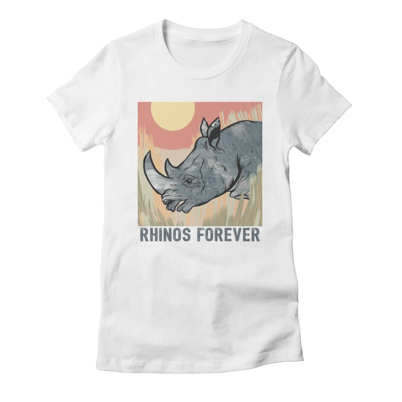 Rhinos Forever Women's Fitted T-Shirt by Feral Pony