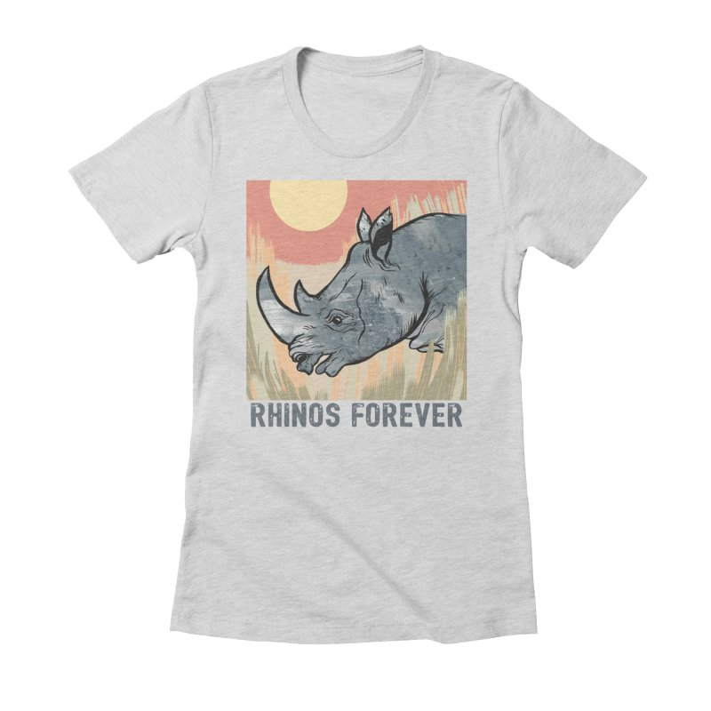 Rhinos Forever Women's Fitted T-Shirt by feralpony's Artist Shop