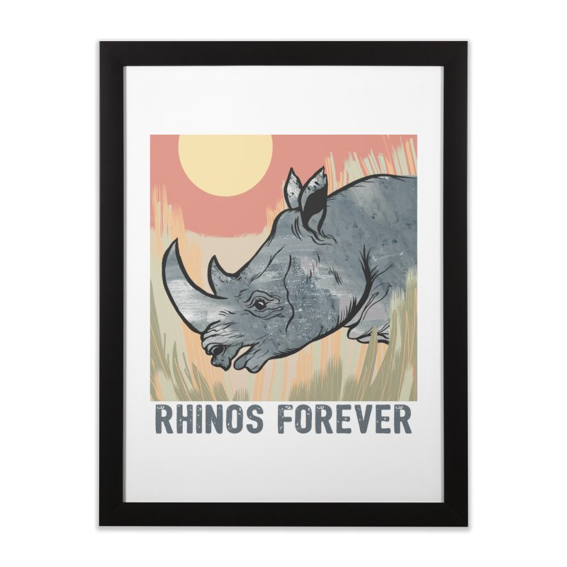 Rhinos Forever Home Framed Fine Art Print by Feral Pony