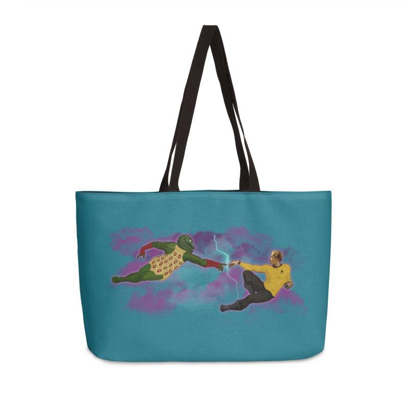 Kirk and Gorn Accessories Weekender Bag Bag by ferg's Artist Shop