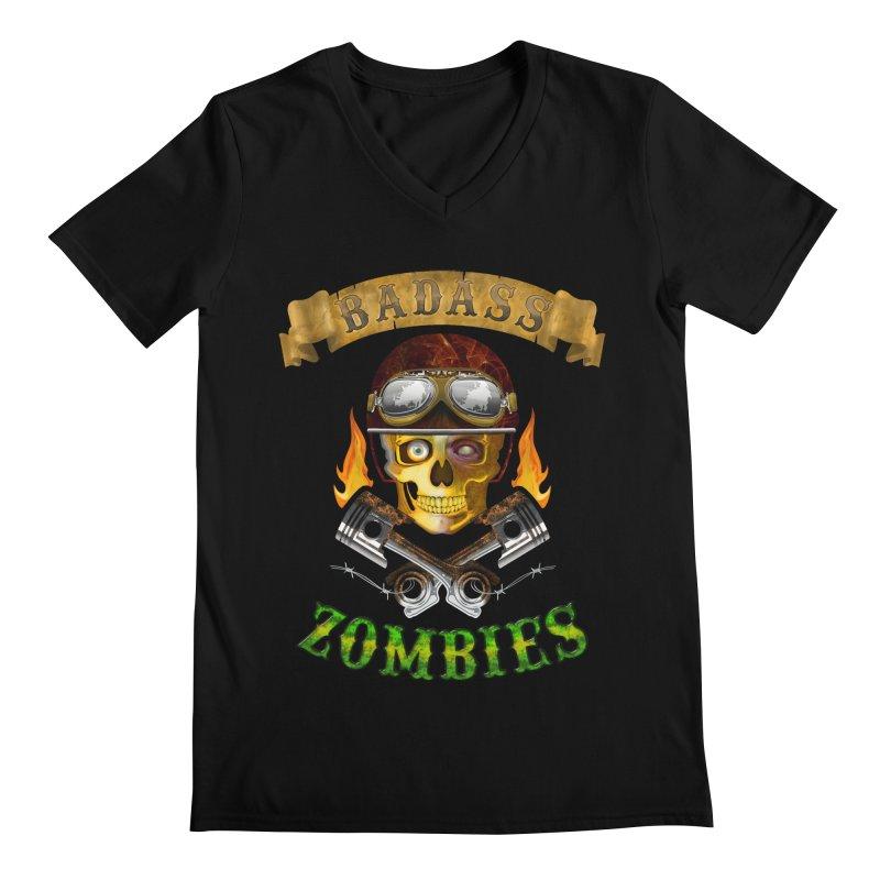 Badass Zombies Men's Regular V-Neck by ferg's Artist Shop