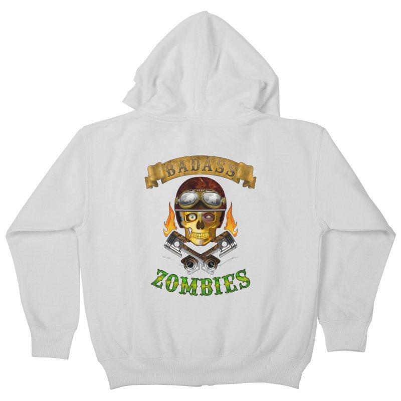Badass Zombies Kids Zip-Up Hoody by ferg's Artist Shop