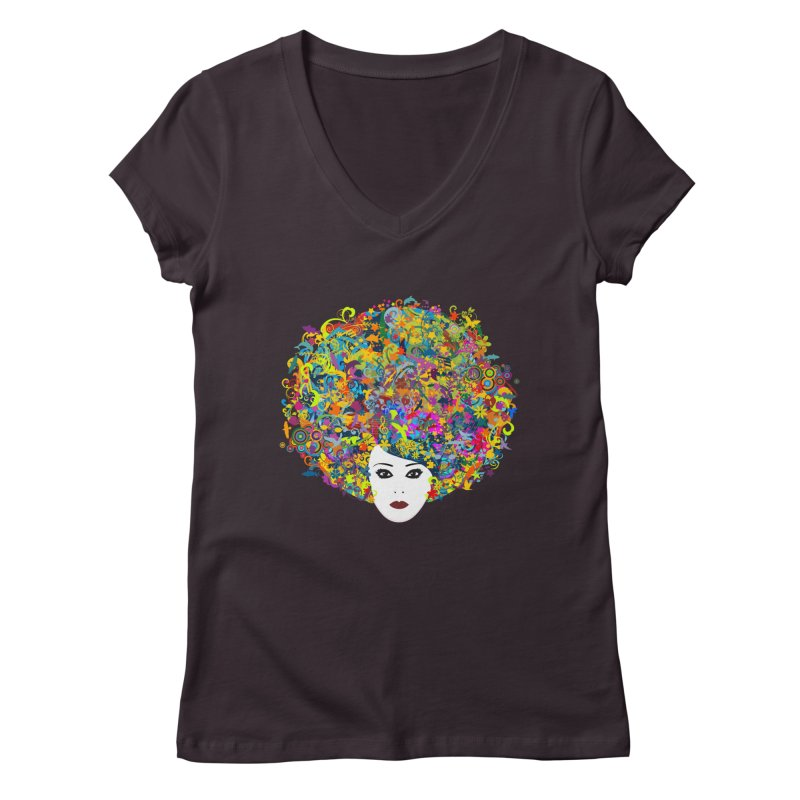 Great Hair Day Women's V-Neck by ferg's Artist Shop