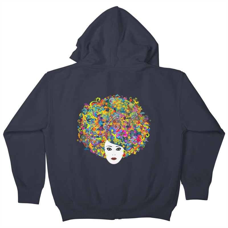 Great Hair Day Kids Zip-Up Hoody by ferg's Artist Shop