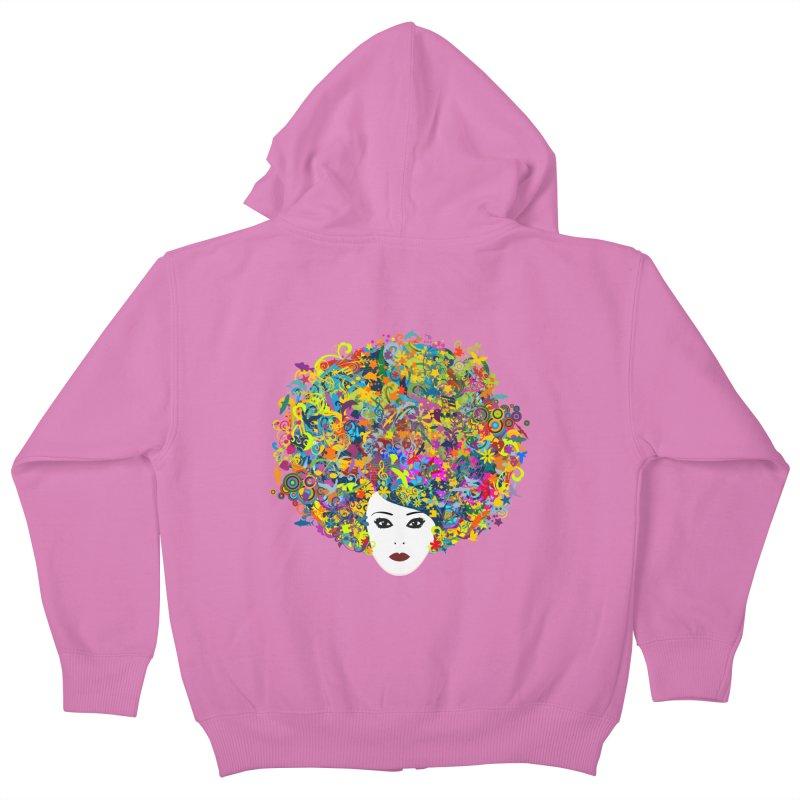 Great Hair Day Kids Zip-Up Hoody by ferg's Artist Shop