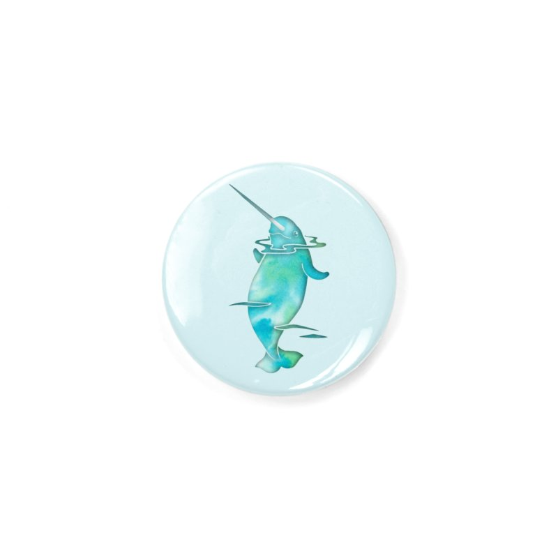 Aqua Sea Narwhals Accessories Button by Ferine Fire