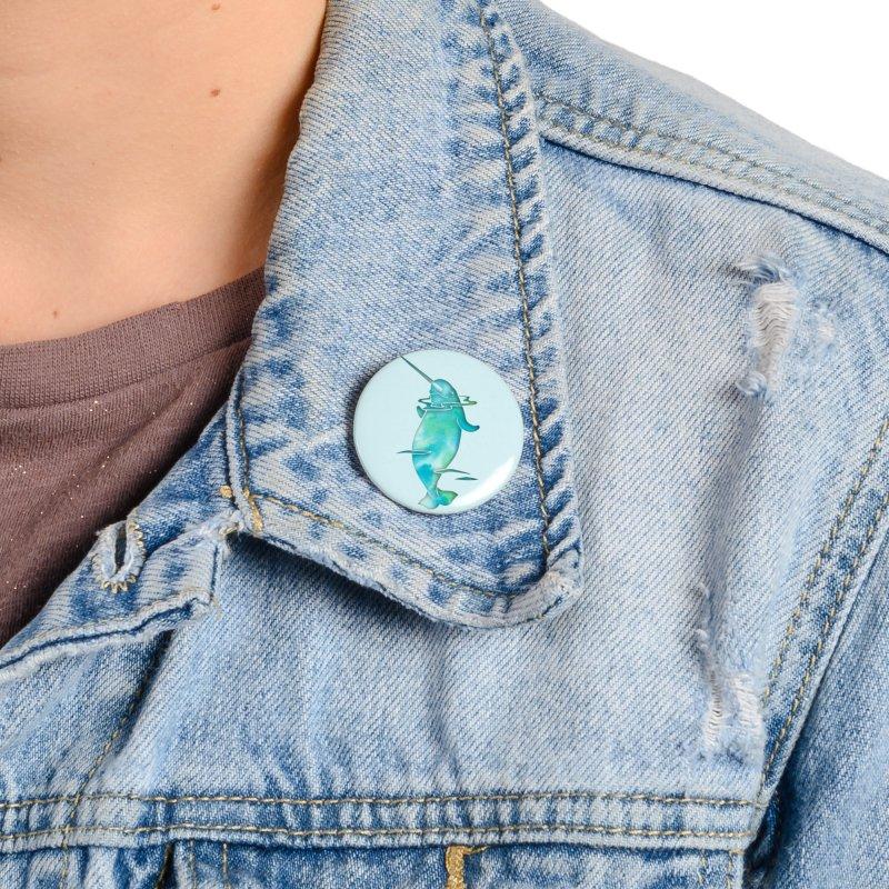 Aqua Sea Narwhals Accessories Button by Ferine Fire