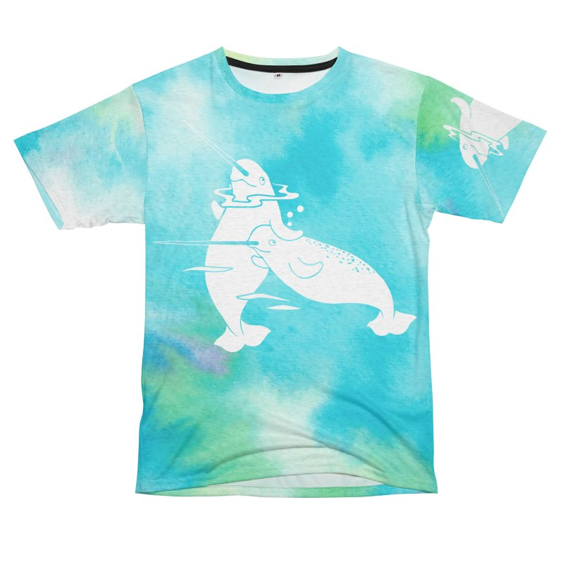 Aqua Sea Narwhals Women's Unisex French Terry T-Shirt Cut & Sew by Ferine Fire