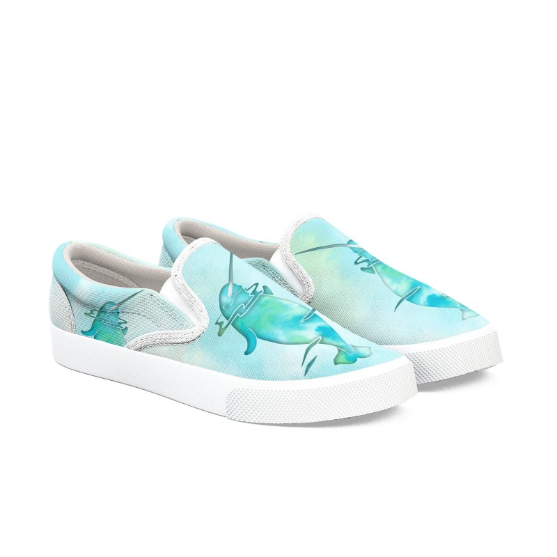 Aqua Sea Narwhals Men's Slip-On Shoes by Ferine Fire
