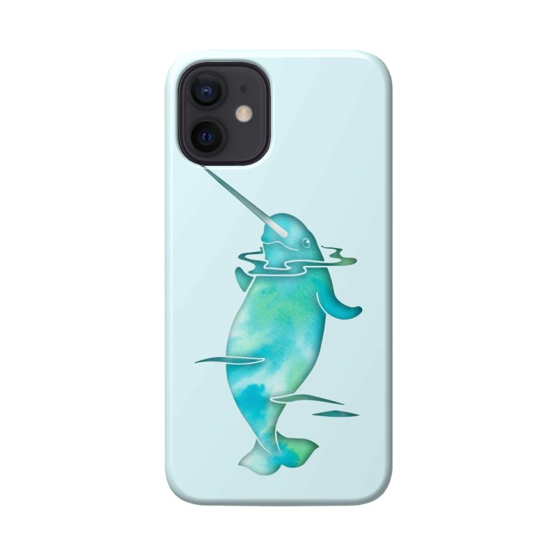 Aqua Sea Narwhals Accessories Phone Case by Ferine Fire