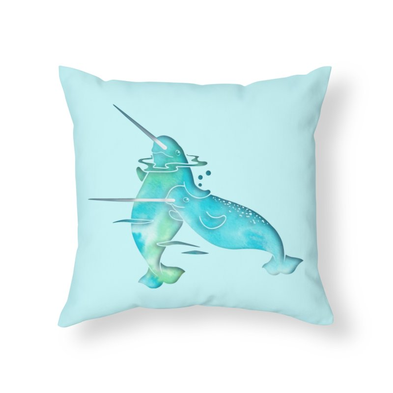 Aqua Sea Narwhals in Throw Pillow by Ferine Fire
