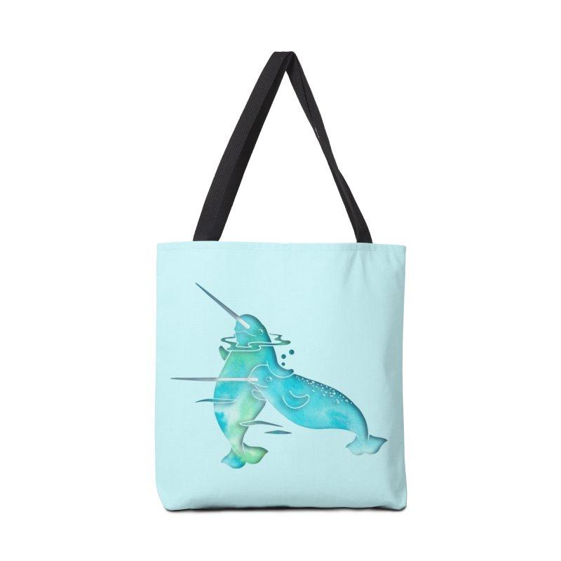 Aqua Sea Narwhals Accessories Bag by Ferine Fire