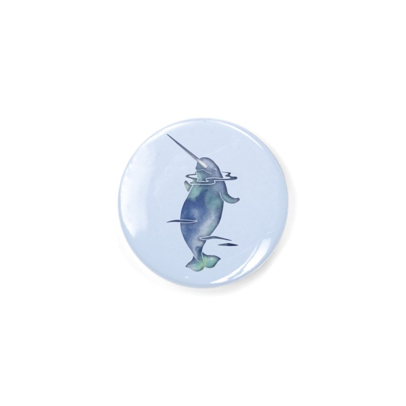 Blue Sea Narwhals Accessories Button by Ferine Fire