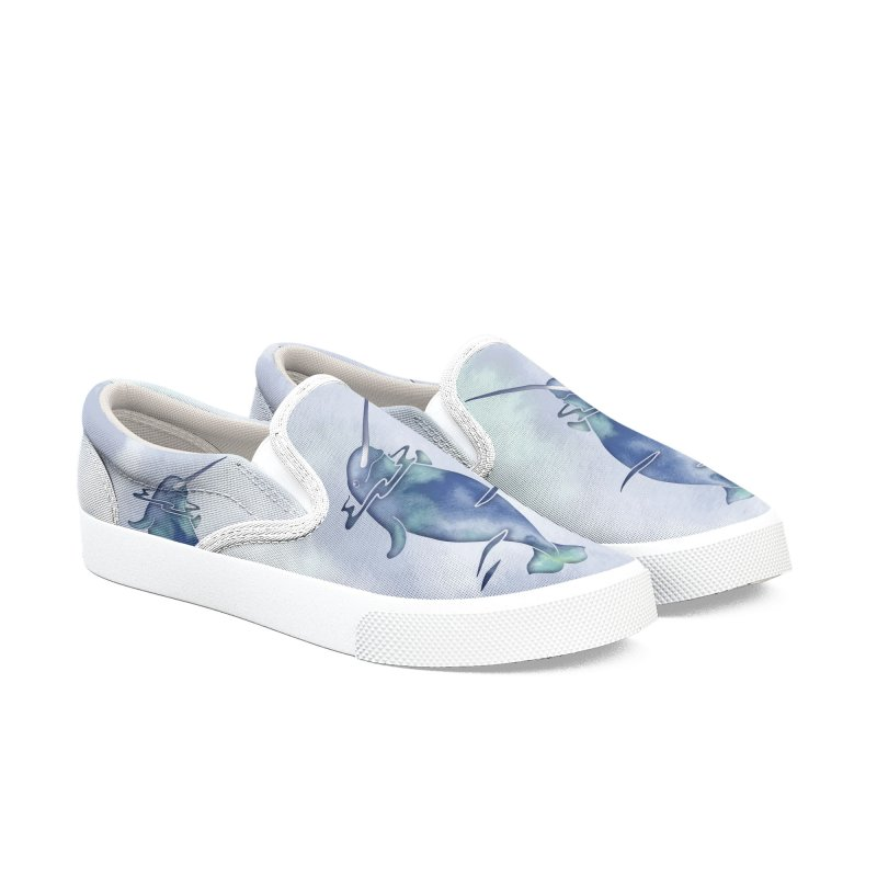 Blue Sea Narwhals Men's Slip-On Shoes by Ferine Fire