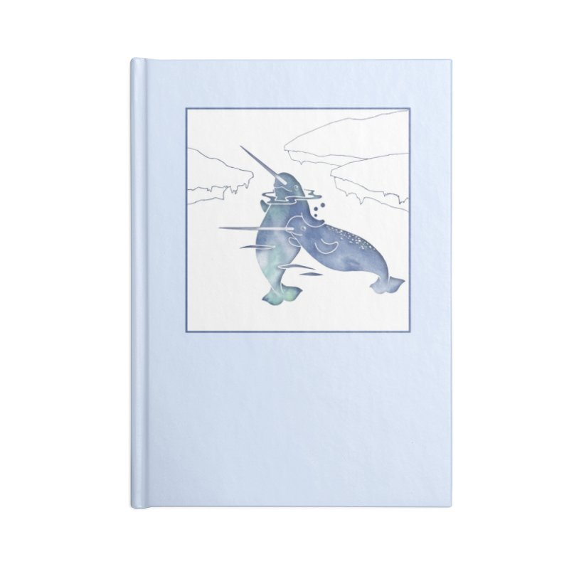 Blue Sea Narwhals Accessories Lined Journal Notebook by Ferine Fire