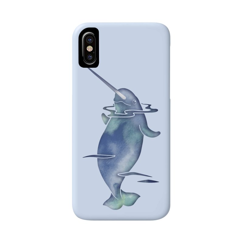 Blue Sea Narwhals Accessories Phone Case by Ferine Fire