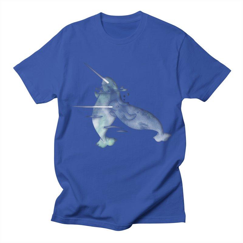 Blue Sea Narwhals Men's Regular T-Shirt by Ferine Fire