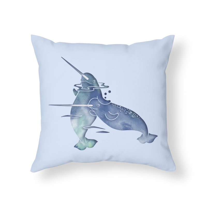 Blue Sea Narwhals in Throw Pillow by Ferine Fire