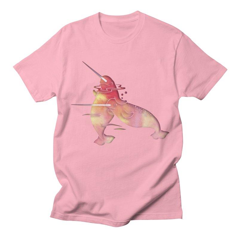 Peach Sea Narwhals Men's Regular T-Shirt by Ferine Fire