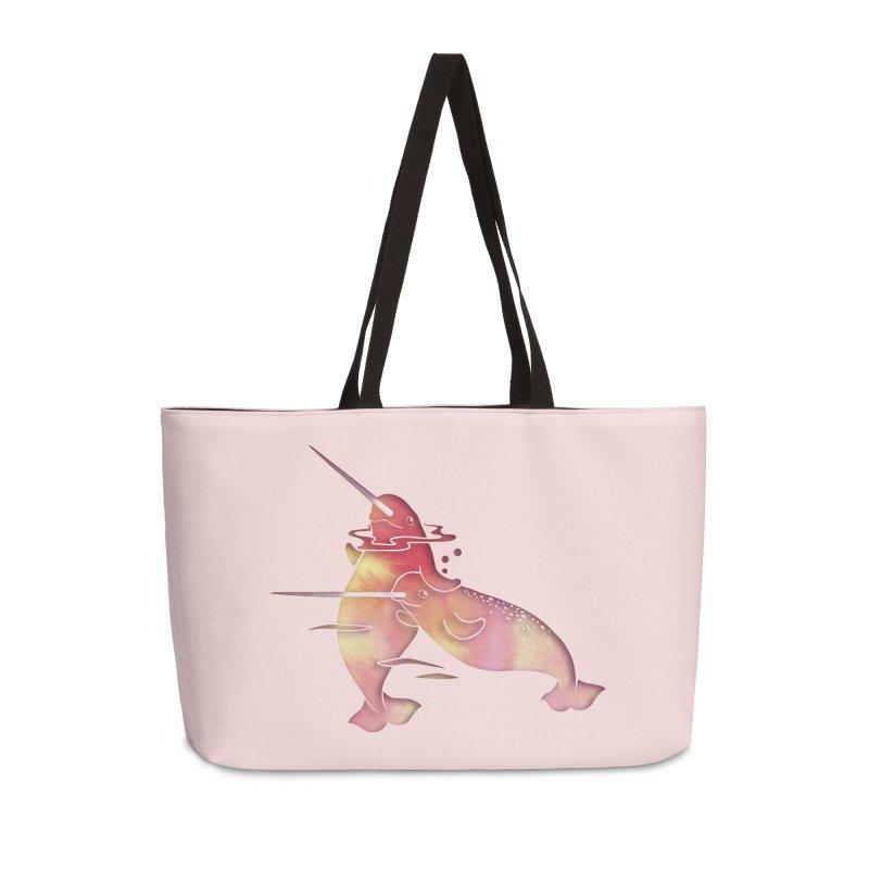 Peach Sea Narwhals Accessories Weekender Bag Bag by Ferine Fire