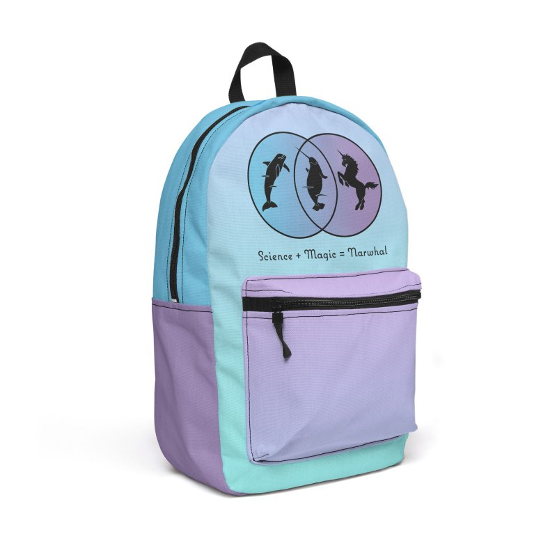 Science + Magic = Narwhal Accessories Backpack Bag by Ferine Fire