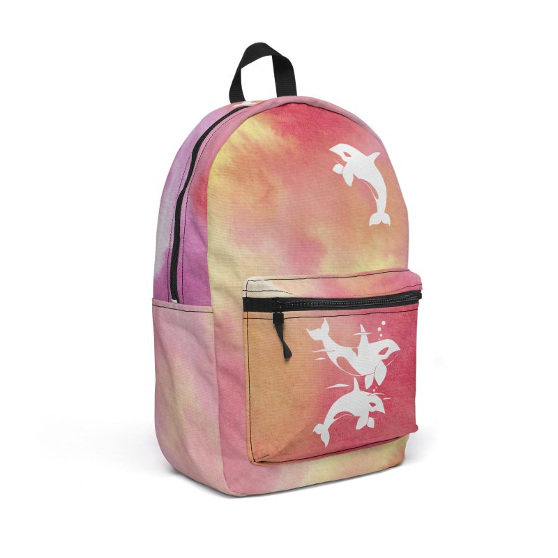Peach Sea Orca Whales Accessories Backpack Bag by Ferine Fire