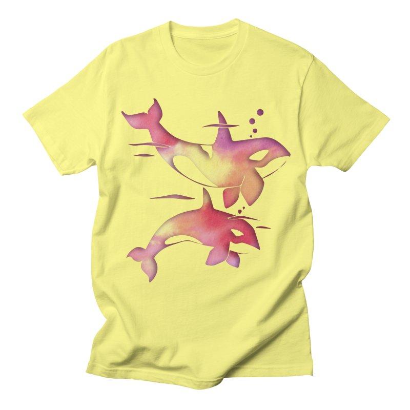 Peach Sea Orca Whales Men's Regular T-Shirt by Ferine Fire