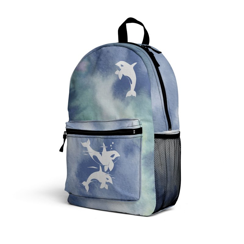 Blue Sea Orca Whales Accessories Bag by Ferine Fire
