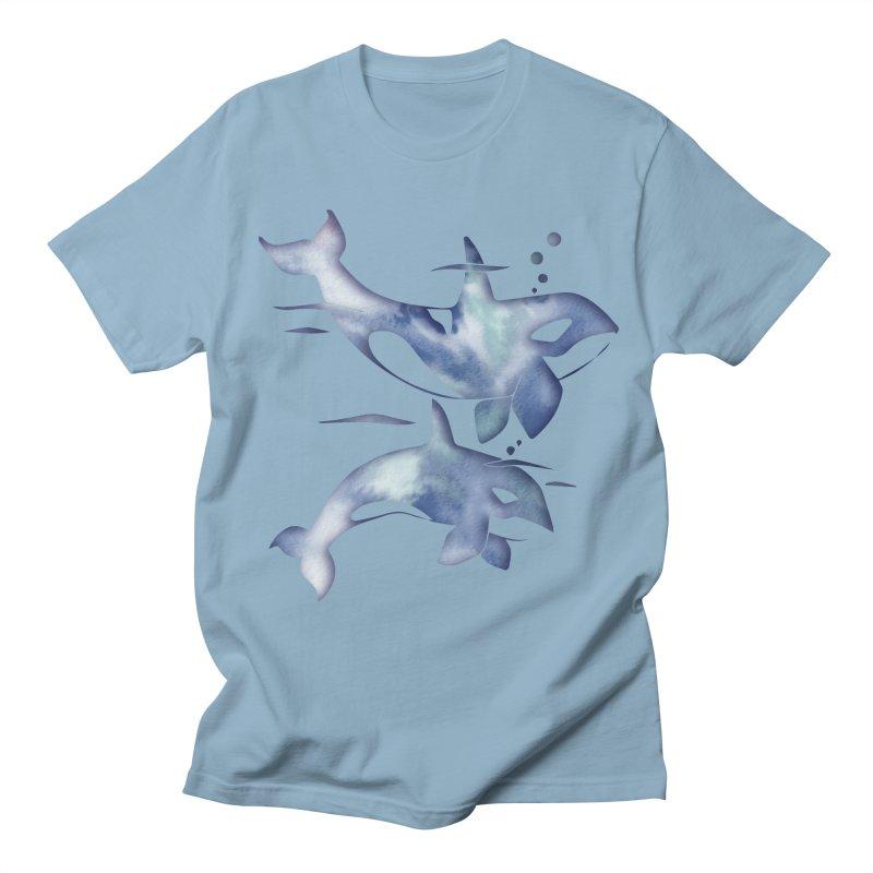 Blue Sea Orca Whales Men's Regular T-Shirt by Ferine Fire