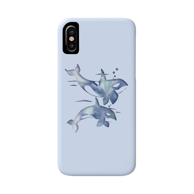 Blue Sea Orca Whales Accessories Phone Case by Ferine Fire