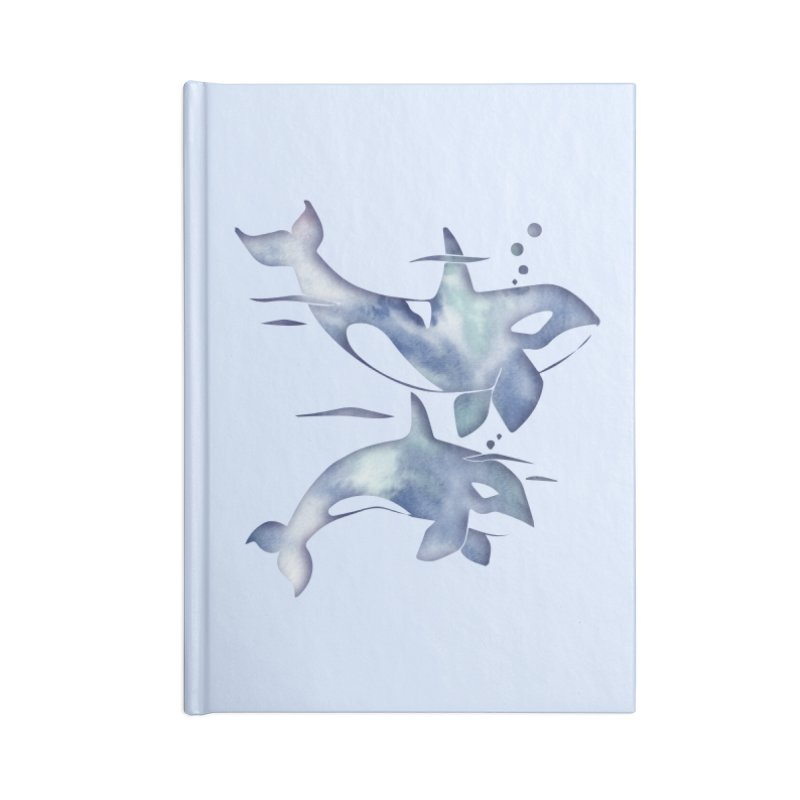 Blue Sea Orca Whales Accessories Lined Journal Notebook by Ferine Fire