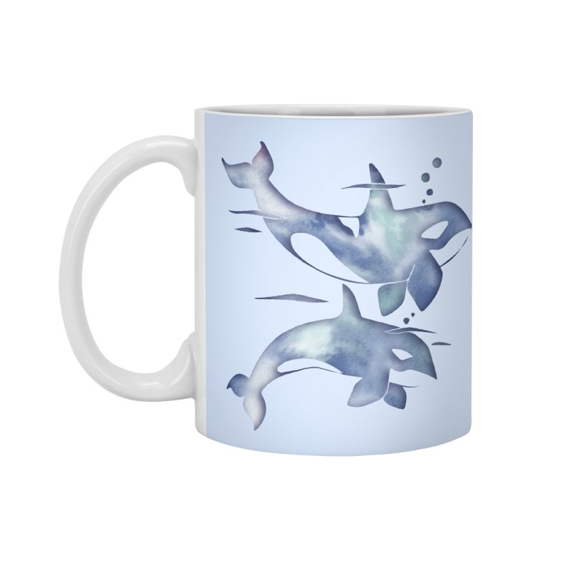 Blue Sea Orca Whales Accessories Standard Mug by Ferine Fire