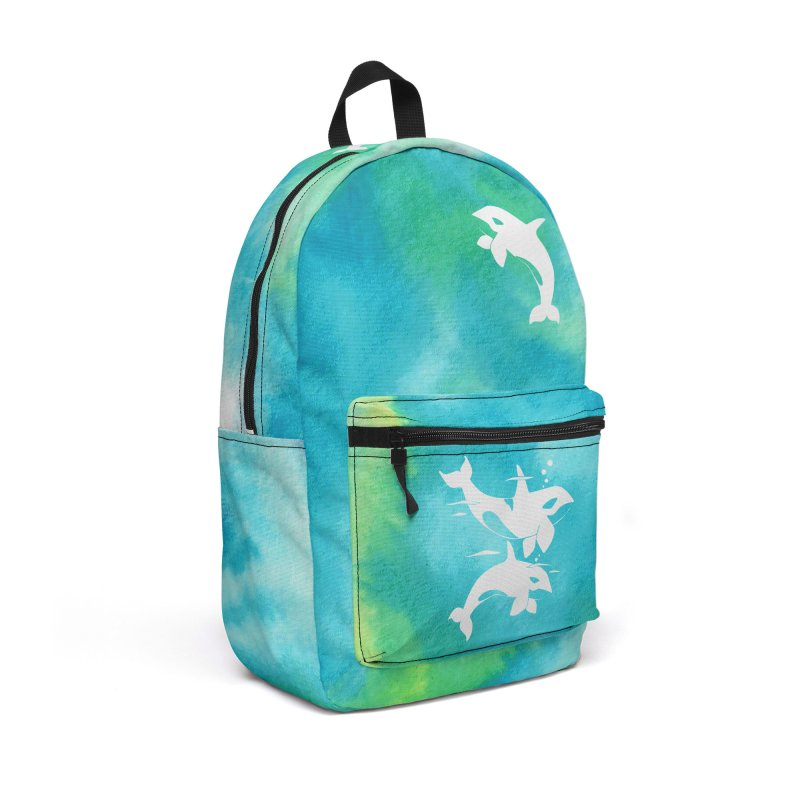 Aqua Sea Orca Whales Accessories Backpack Bag by Ferine Fire