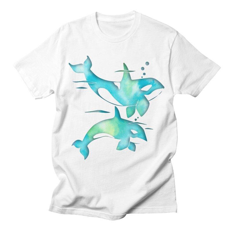 Aqua Sea Orca Whales Men's Regular T-Shirt by Ferine Fire