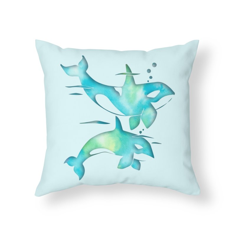Aqua Sea Orca Whales in Throw Pillow by Ferine Fire
