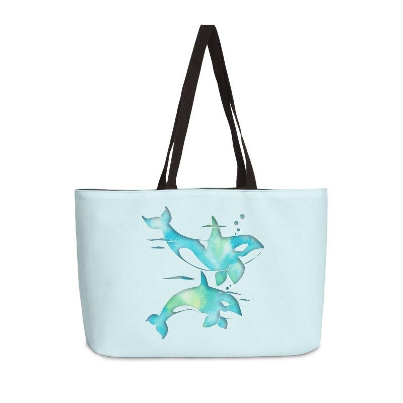 Aqua Sea Orca Whales Accessories Weekender Bag Bag by Ferine Fire