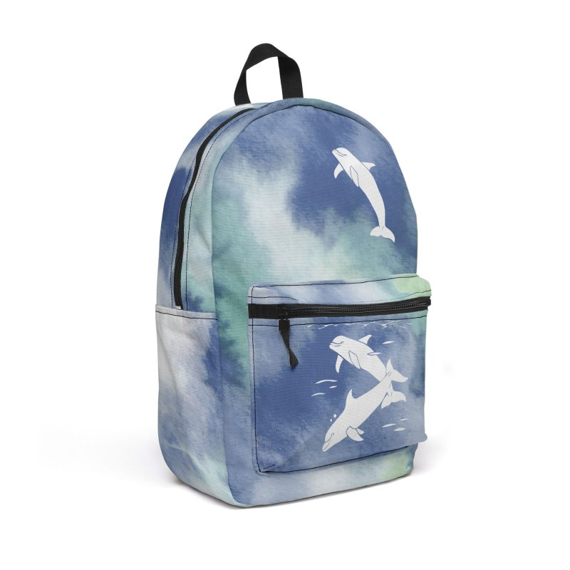 Blue Sea Dolphins Accessories Backpack Bag by Ferine Fire
