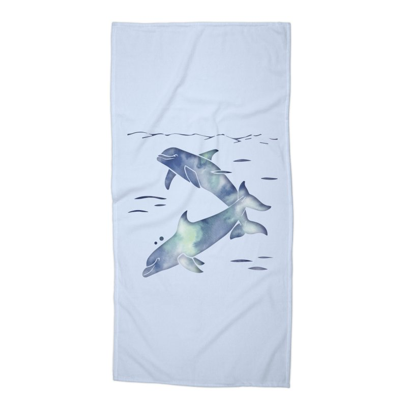 Blue Sea Dolphins Accessories Beach Towel by Ferine Fire