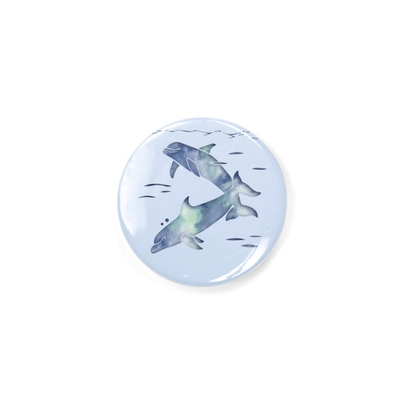 Blue Sea Dolphins Accessories Button by Ferine Fire