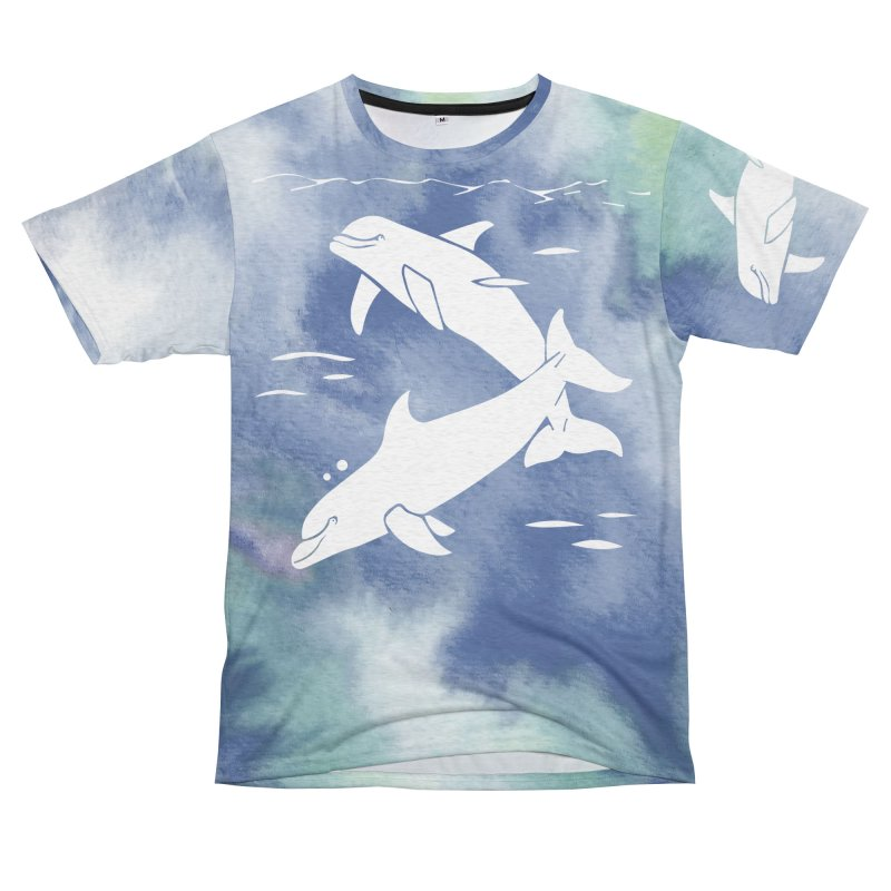 Blue Sea Dolphins Women's Unisex French Terry T-Shirt Cut & Sew by Ferine Fire
