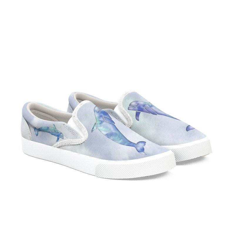 Blue Sea Dolphins Men's Slip-On Shoes by Ferine Fire