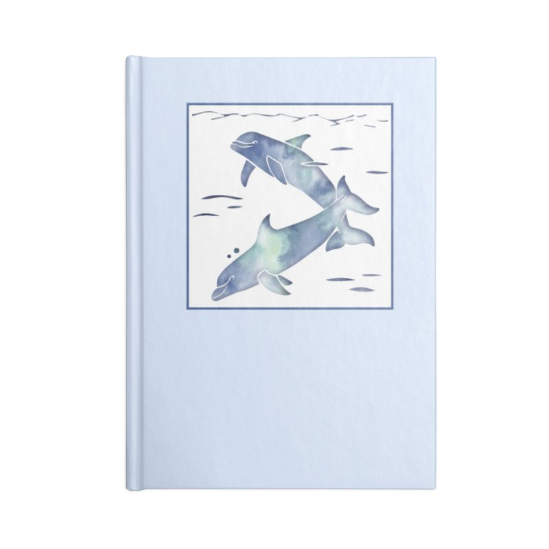 Blue Sea Dolphins Accessories Blank Journal Notebook by Ferine Fire