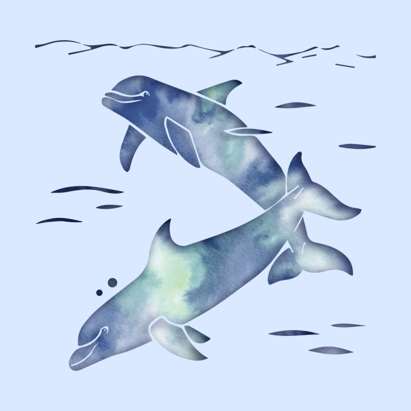 Blue Sea Dolphins by Ferine Fire