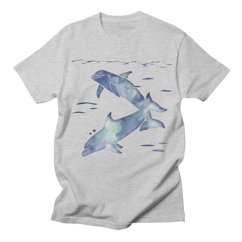 Blue Sea Dolphins Men's Regular T-Shirt by Ferine Fire
