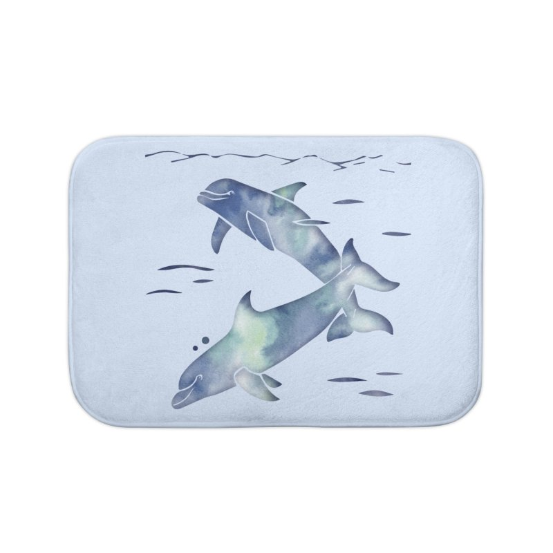 Blue Sea Dolphins Home Bath Mat by Ferine Fire
