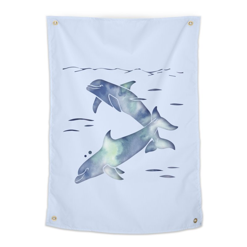 Blue Sea Dolphins Home Tapestry by Ferine Fire