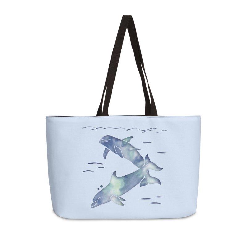 Blue Sea Dolphins Accessories Weekender Bag Bag by Ferine Fire