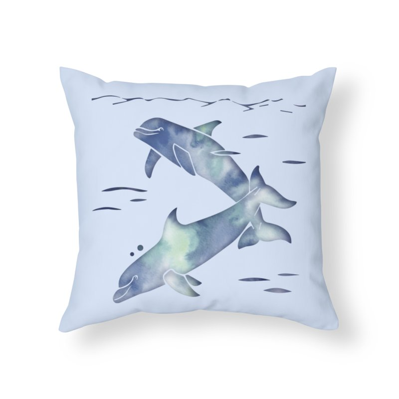 Blue Sea Dolphins in Throw Pillow by Ferine Fire