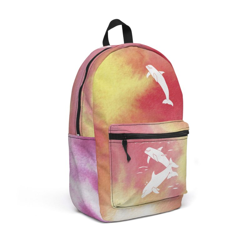 Peach Sea Dolphins Accessories Backpack Bag by Ferine Fire